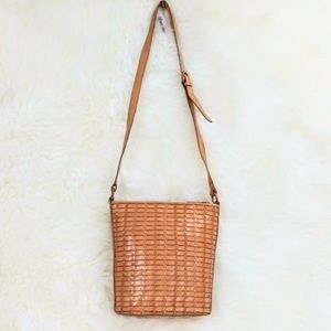 Fossil tan basket weave leather crossbody bag